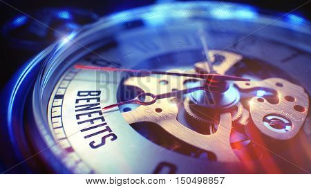 Pocket Watch Face with Benefits Text on it. Business Concept with Vintage Effect. Benefits. on Pocket Watch Face with Close Up View of Watch Mechanism. Time Concept. Lens Flare Effect. 3D.