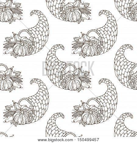 Vector Seamless Hand-drawn Thanksgiving Pattern.