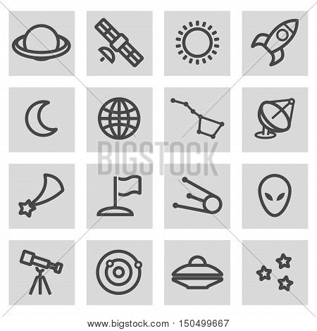 Vector black line space icons set on grey background