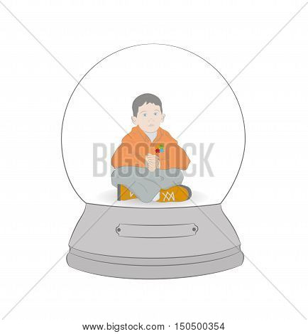 Autism concept. boy in a snow globe. vector illustration.