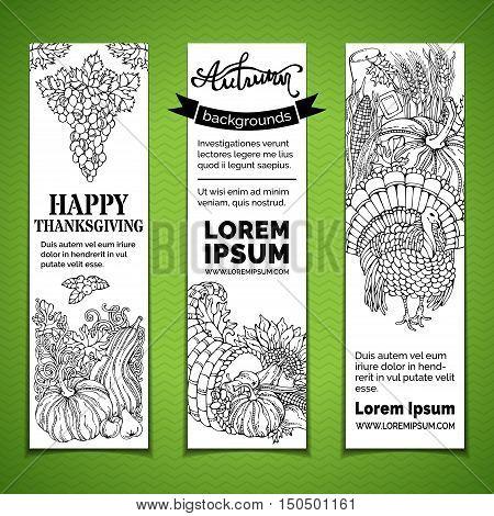 Vector Doodles Thanksgiving Vertical Banners Set.