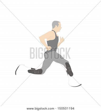 athlete runner with prosthetic legs. vector illustration