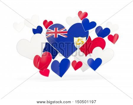 Flag Of Anguilla, Heart Shaped Stickers