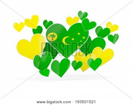 Flag Of Cocos Islands, Heart Shaped Stickers