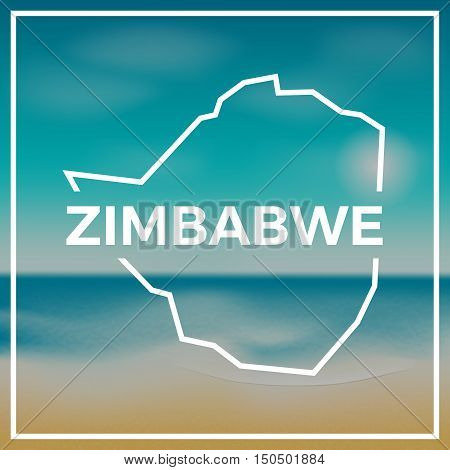 Zimbabwe Map Rough Outline Against The Backdrop Of Beach And Tropical Sea With Bright Sun.