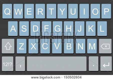 Vector modern keyboard of smartphone, alphabet keyboard buttons. Vector illustration for mobile app or device illustration