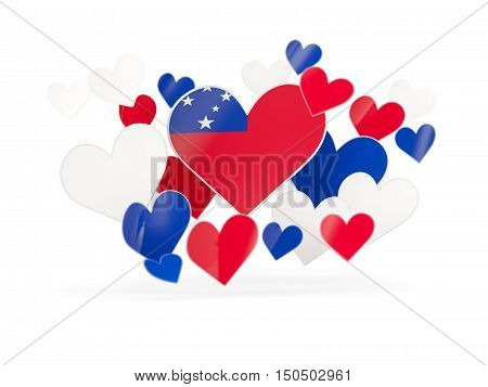 Flag Of Samoa, Heart Shaped Stickers