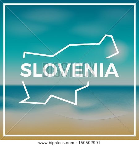 Slovenia Map Rough Outline Against The Backdrop Of Beach And Tropical Sea With Bright Sun.