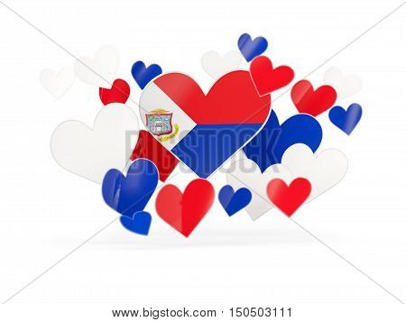 Flag Of Sint Maarten, Heart Shaped Stickers