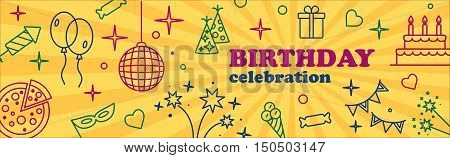 Happy Birthday Card. Confetti, cute fonts, masks. Kids birthday party banner. Poster to birthday celebration. Party banner. Party celebration banner Banner or Template design for Musical Party celebration.