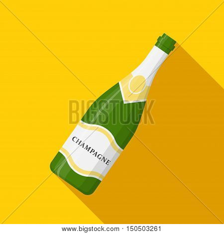 Champagne bottle icon vector on yellow background. Alcohol celebration wine champagne bottle. Holiday gold glass new year party beverage champagne icon romantic drink bottle.