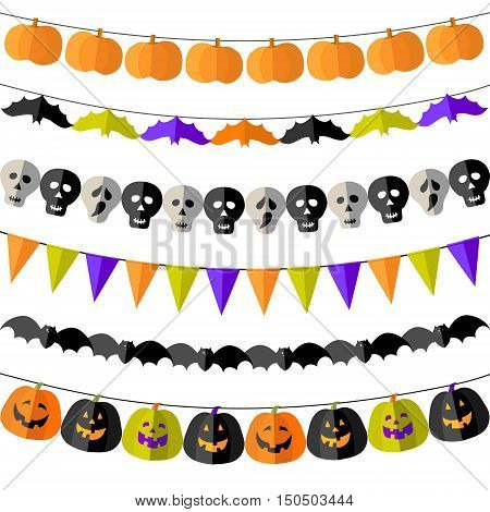 Set of Halloween buntings with bats, skulls, pumpkins and flags in traditional celebration colors