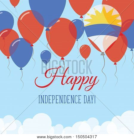 Antigua And Barbuda Independence Day Flat Greeting Card. Flying Rubber Balloons In Colors Of The Ant