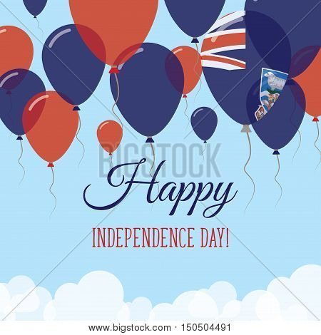 Falkland Islands (malvinas) Independence Day Flat Greeting Card. Flying Rubber Balloons In Colors Of