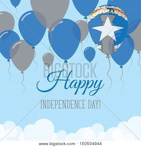 Northern Mariana Islands Independence Day Flat Greeting Card. Flying Rubber Balloons In Colors Of Th