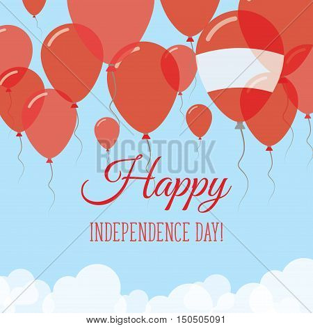 Austria Independence Day Flat Greeting Card. Flying Rubber Balloons In Colors Of The Austrian Flag.