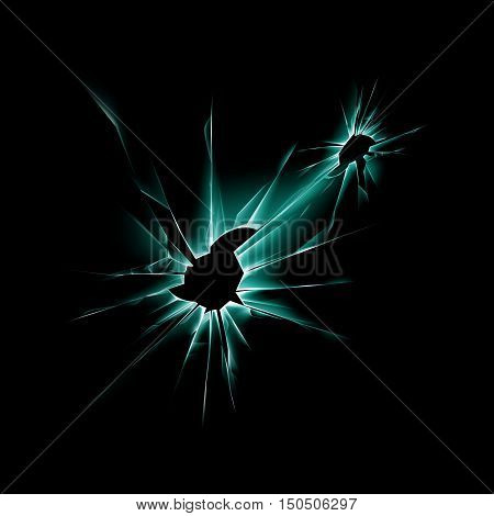 Vector Green Broken Shattered Crack Glass Window with Sharp Edges Close up on Dark Black Background