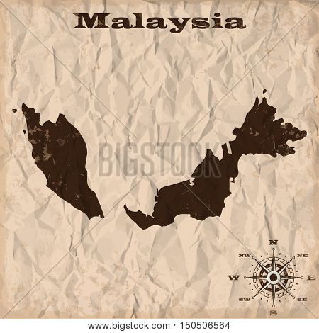 Malaysia old map with grunge and crumpled paper. Vector illustration