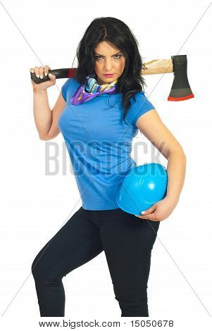 Beautiful Serious Worker Woman With Ax