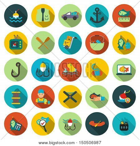 Fishing icons set. Fish, fisher collection icon in flat design. Tackle symbol.