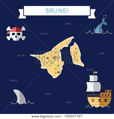 Flat Treasure Map Of Brunei Darussalam. Colorful Cartoon With Icons Of Ship, Jolly Roger, Treasure C