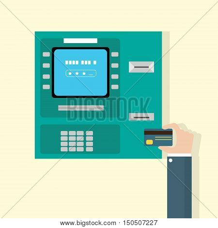Hand Put Credit Card In ATM Cash Machine Flat Vector Illustration