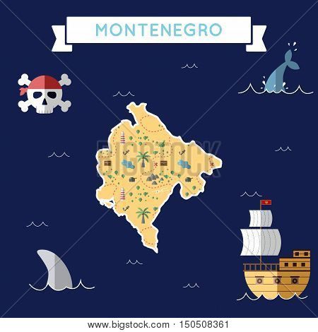 Flat Treasure Map Of Montenegro. Colorful Cartoon With Icons Of Ship, Jolly Roger, Treasure Chest An