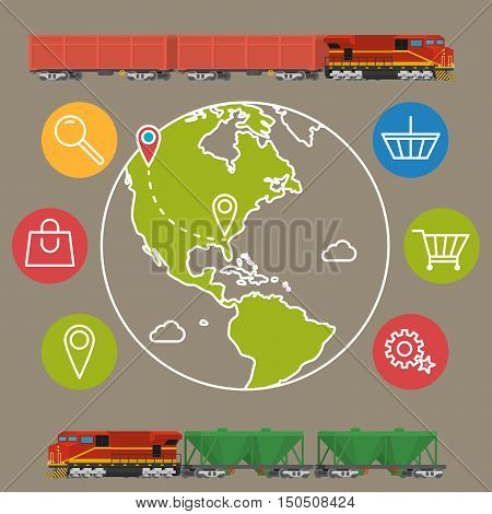 delivery service concept background. Logistics in business and industry. Vector illustration on global commercial shipping with cargo semi truck and modern icons on shopping and E-commerce