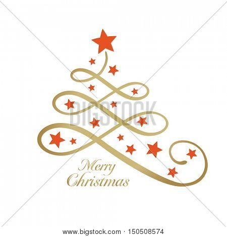 Line art golden Christmas tree made of loops and decorated with red stars and the wording Merry Christmas in golden. Can be used as a design element or on a greeting card.