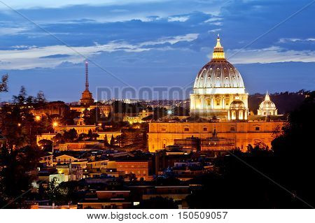 Vatican - dome copule at evening at summer