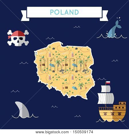 Flat Treasure Map Of Poland. Colorful Cartoon With Icons Of Ship, Jolly Roger, Treasure Chest And Ba