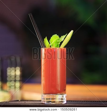 Bloody Mary At The Bar Counter. Classic Cocktail.