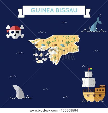 Flat Treasure Map Of Guinea-bissau. Colorful Cartoon With Icons Of Ship, Jolly Roger, Treasure Chest