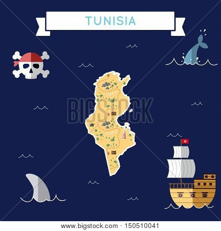 Flat Treasure Map Of Tunisia. Colorful Cartoon With Icons Of Ship, Jolly Roger, Treasure Chest And B