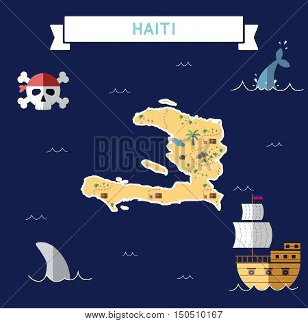 Flat Treasure Map Of Haiti. Colorful Cartoon With Icons Of Ship, Jolly Roger, Treasure Chest And Ban