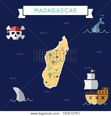 Flat Treasure Map Of Madagascar. Colorful Cartoon With Icons Of Ship, Jolly Roger, Treasure Chest An