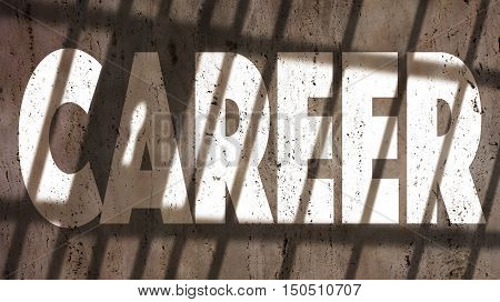 Career Written On A Wall With Jail Bars Shadow.