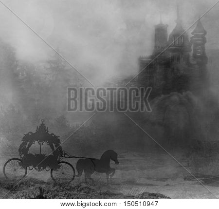 carriage and a medieval castle at night , raster