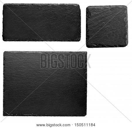 Squared and rectangular black stone slate board isolated on white background
