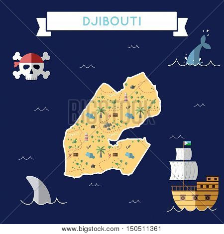 Flat Treasure Map Of Djibouti. Colorful Cartoon With Icons Of Ship, Jolly Roger, Treasure Chest And