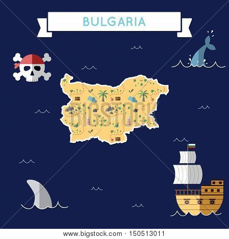 Flat Treasure Map Of Bulgaria. Colorful Cartoon With Icons Of Ship, Jolly Roger, Treasure Chest And