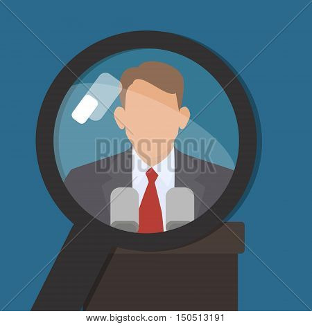 Man under a magnifying glass. Find information about famous world persona. Vector