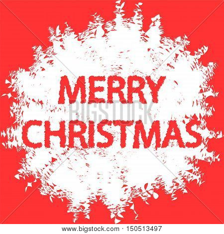 Merry Christmas. Handwritten Lettering in Snowball Blot on Red Background. Vector Illustration.