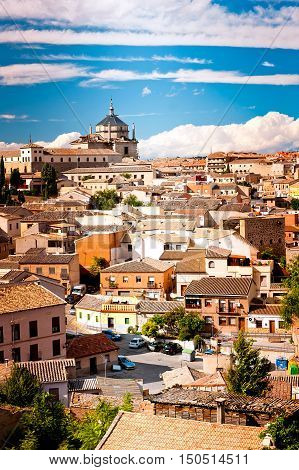 Cityline of Toledo in Spain Blue sky and white clouds