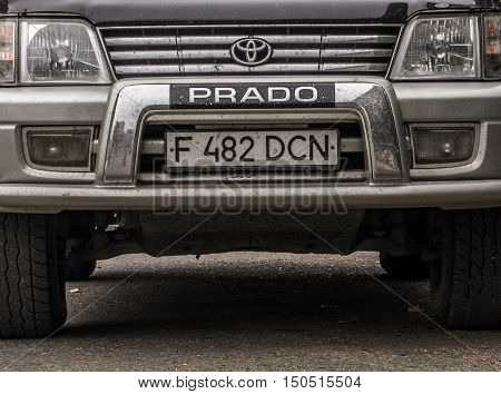Kazakhstan, Ust-Kamenogorsk, october 5 , 2016: Toyota Land Cruiser Prado, old car, old japan car in the street, car fragment, selective focus, suv
