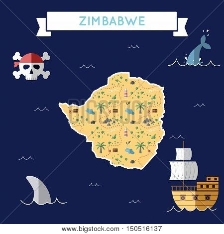 Flat Treasure Map Of Zimbabwe. Colorful Cartoon With Icons Of Ship, Jolly Roger, Treasure Chest And