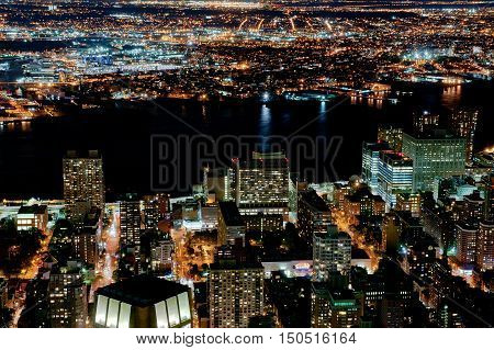 Hudson river in New York city by night