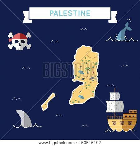 Flat Treasure Map Of Palestine. Colorful Cartoon With Icons Of Ship, Jolly Roger, Treasure Chest And