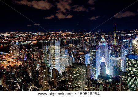 Illuminated New York cityscape by night - USA