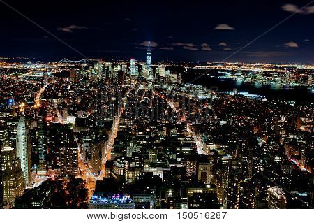 New York city and Hudson river at night